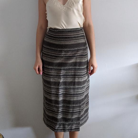 Vintage Dresses & Skirts - 1990's Southwestern-Style Wool Wrap Skirt